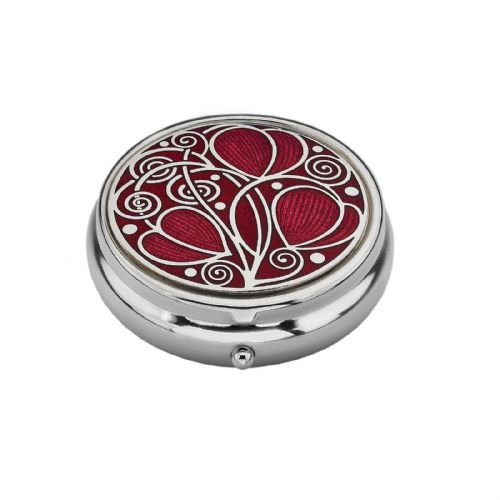 Large Pill Box Silver Plated Mackintosh Leaves and Coils Red Brand New & Boxed